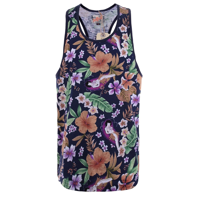 New Mens Bellfield Harrison Designer Floral Print Razorback Summer Vest Top Size
