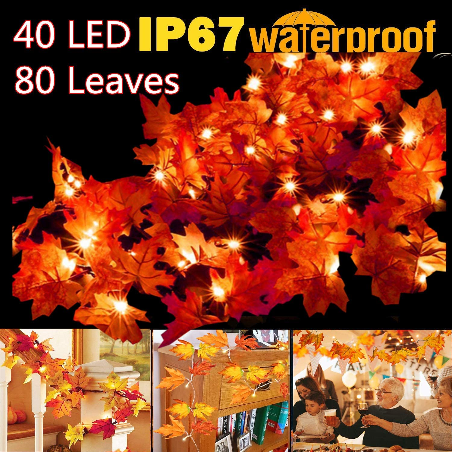 Thanksgiving Decorations Lighted Fall Garland, 14.7 Feet 40 LED 80 Leaves Thanksgiving Decor String Lights for Indoor Outdoor Fall decor, Fall decorations
