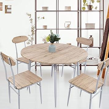 Amazon.com: KARMAS PRODUCT Juego de mesa y sillas de comedor ...