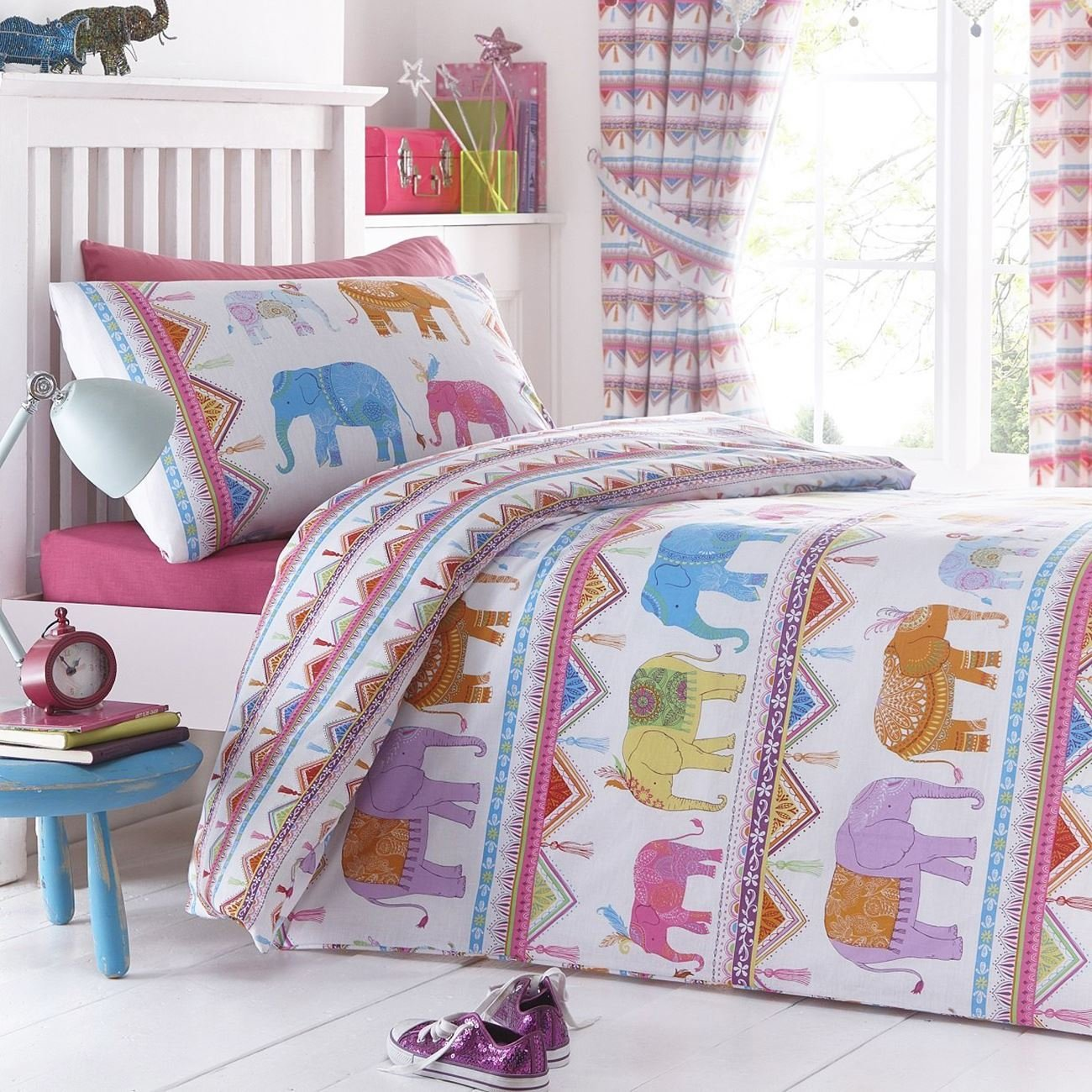 Carnival Elephants UK Single/US Twin Duvet Cover and Pillowcase Set' / Amazon: 'Carnival Elephants Single Bedding
