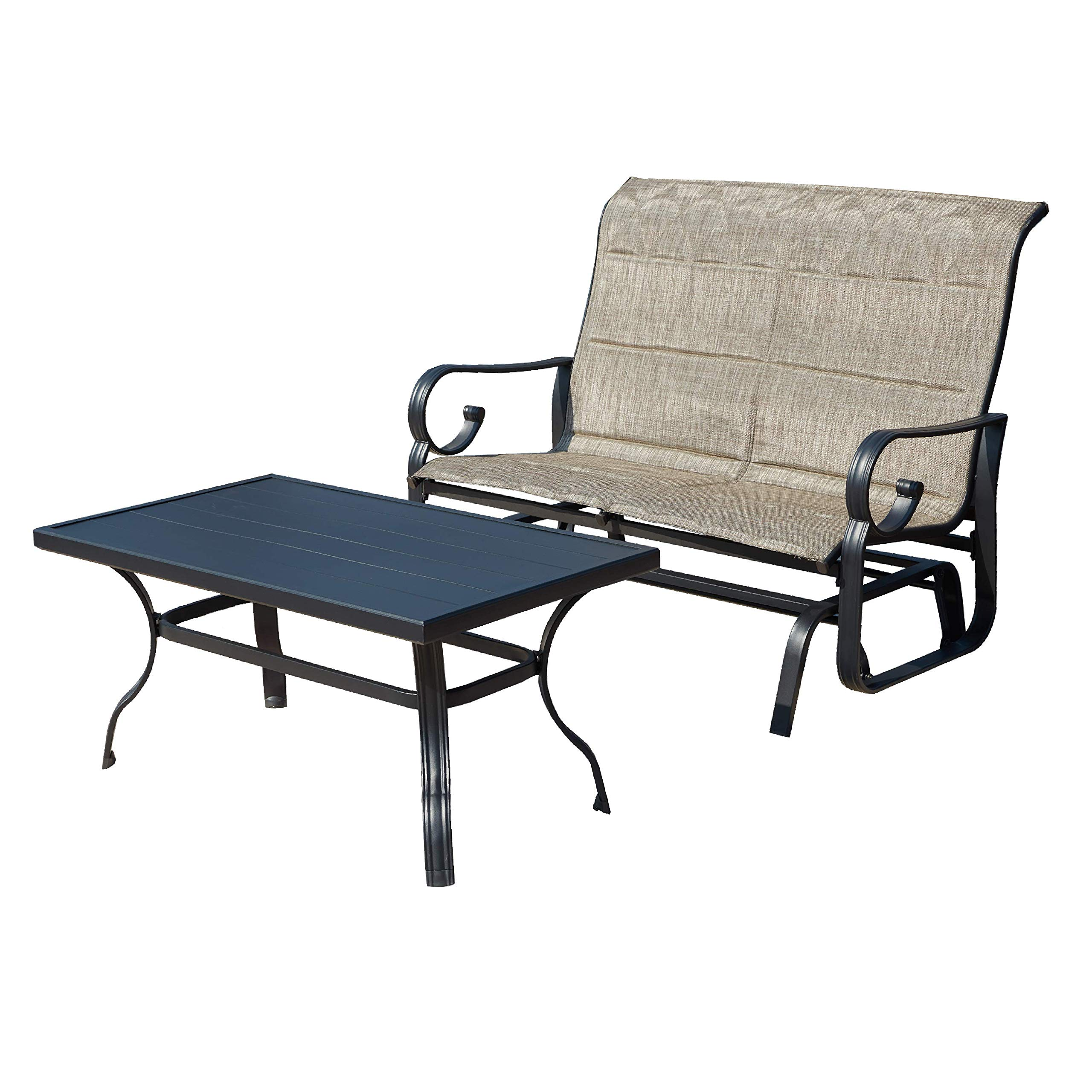 LOKATSE HOME Outdoor Patio Glider Chair Set Rocking Loveseat Swing Beach Furniture Seating with Table,Grey