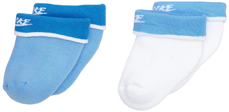 Nike 2PPK Baby Bootie - Calcetines unisex, color blanco/azul, talla S: Amazon.es: Zapatos y complementos