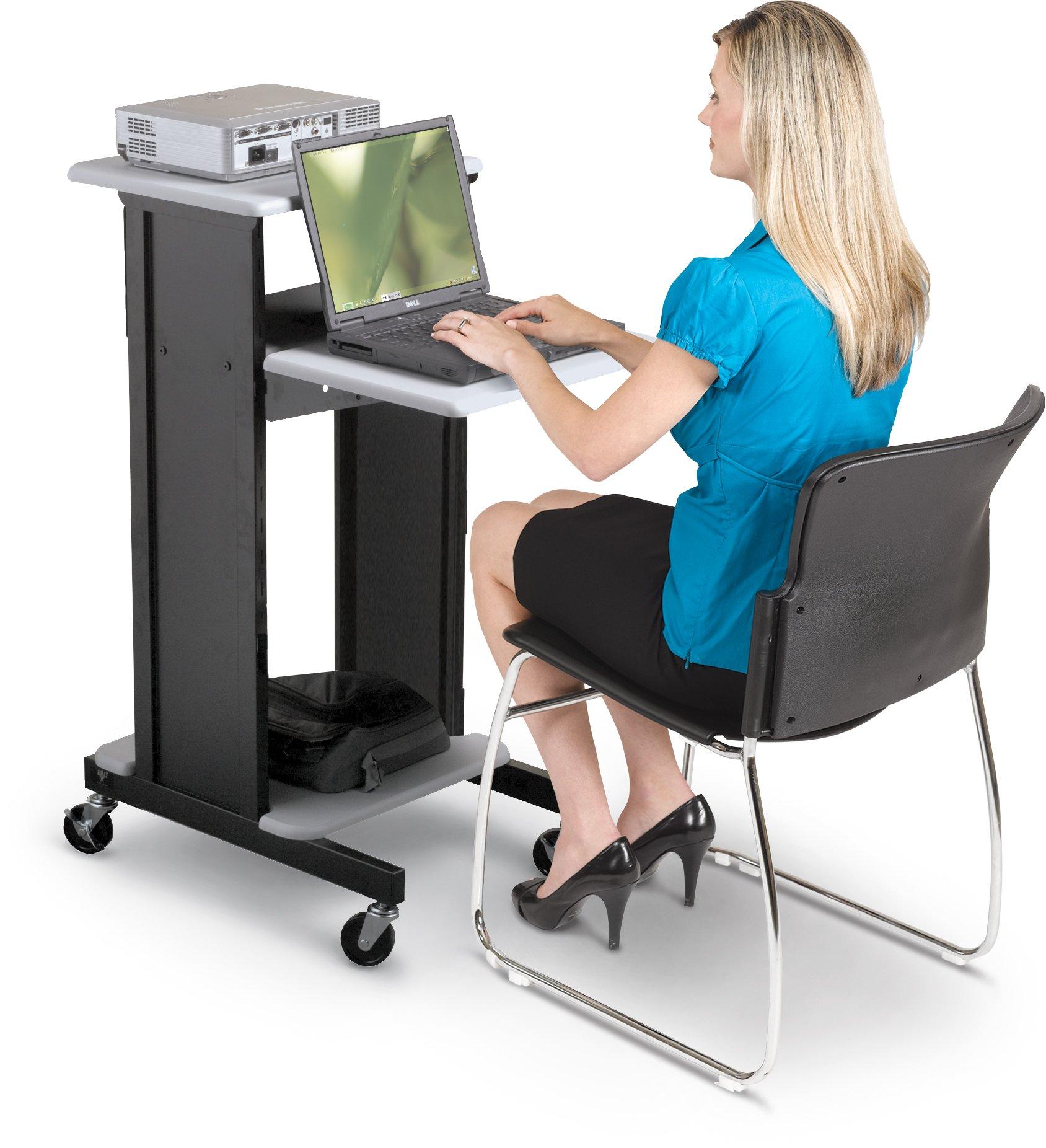BALT 89759 Adjustable Presentation Cart, 18w x 30d x 40-1/4h, Black/Gray by Balt (Image #3)