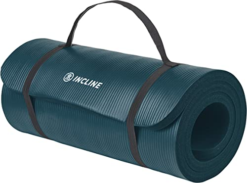 Incline Fit Exercise Mat Ananda 1 Extra Thick Exercise Mat with Strap - Non Slip Workout Mat for Yoga, Pilates, Stretching, Meditation, Floor Fitness Exercises