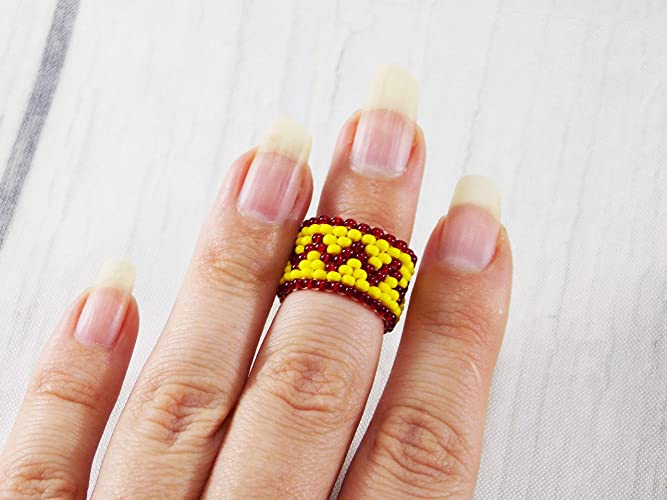 Amazoncom Handmade Unique Geometric Boho Rings Midi Beaded