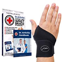 Doctor Developed Premium Copper Lined Wrist Support / Wrist Strap / Wrist Brace / Hand Support [Single] & Doctor Written Handbook— Suitable for both right and left hands