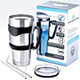 Techo Stainless Steel Insulated Tumbler with Lid and Straws Double Wall Vacuum Cup Coffee Travel Mug for Hot and Cold Drink, 30 Oz.