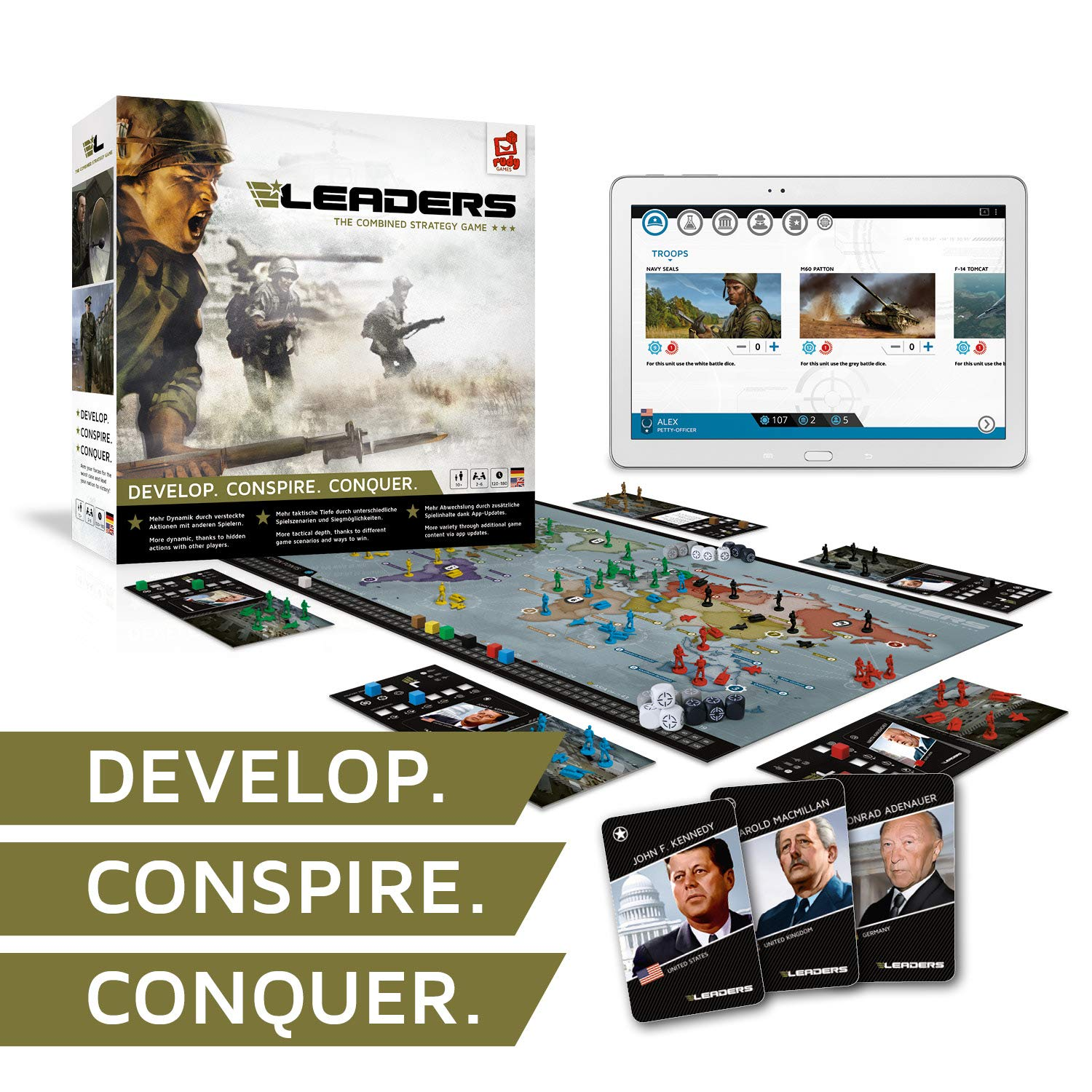 Rudy Games - Leaders 2019 - Interactive Cold War Strategy Board Game with App - for Children 10 Years and Up and Adults by Rudy Games (Image #2)