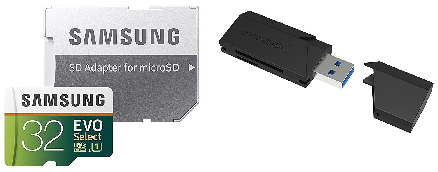 64GB EVO Select Memory Card and Sabrent SuperSpeed 2-Slot USB 3.0 Flash Memory Card Reader
