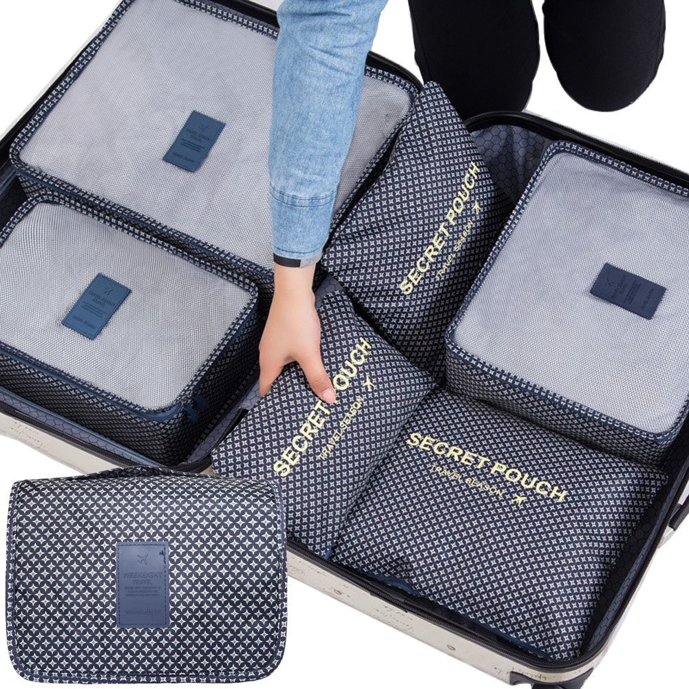 7 Set Travel Packing Cubes Luggage Organizers Clothes Storage Travel Organizers- 3 Mesh Bag + 3 Laundry Pouch + 1 Toiletry Bag (Navy & Green White Star)