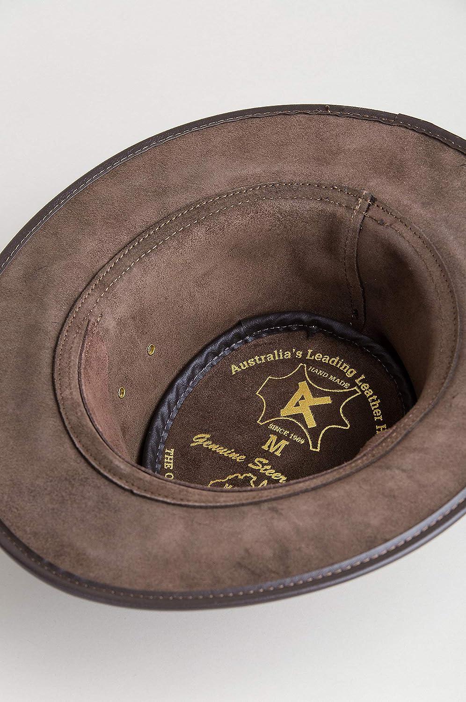 219850ca657 Overland Sheepskin Co Traveler Crushable Leather Outback Hat at Amazon  Women s Clothing store