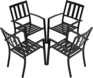 LOKATSE HOME Patio Dining Chairs Set of 4 Metal Armchairs Outdoor Furniture for Poolside, Backyard, Balcony, Garden, Porch, Black