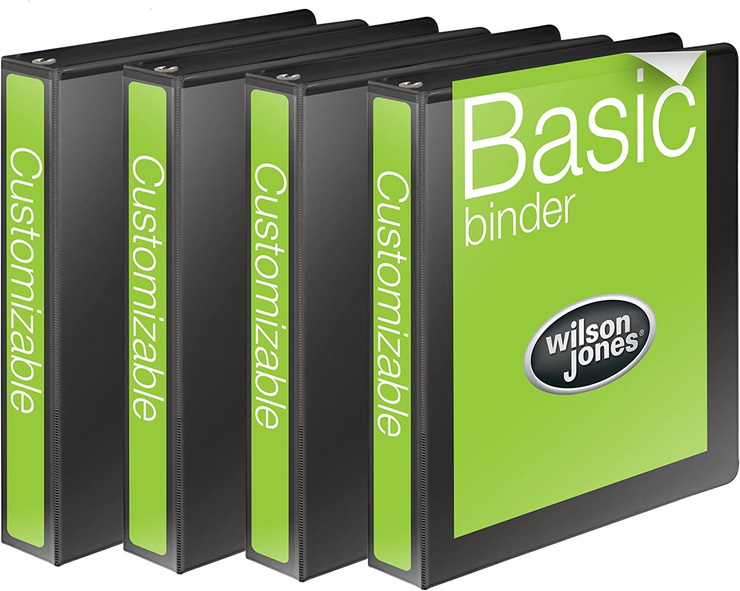 Wilson Jones 1 Inch 3 Ring Binder, Basic Round Ring View Binder, Black, 4 Pack (W70362-14BPP) : Office Products