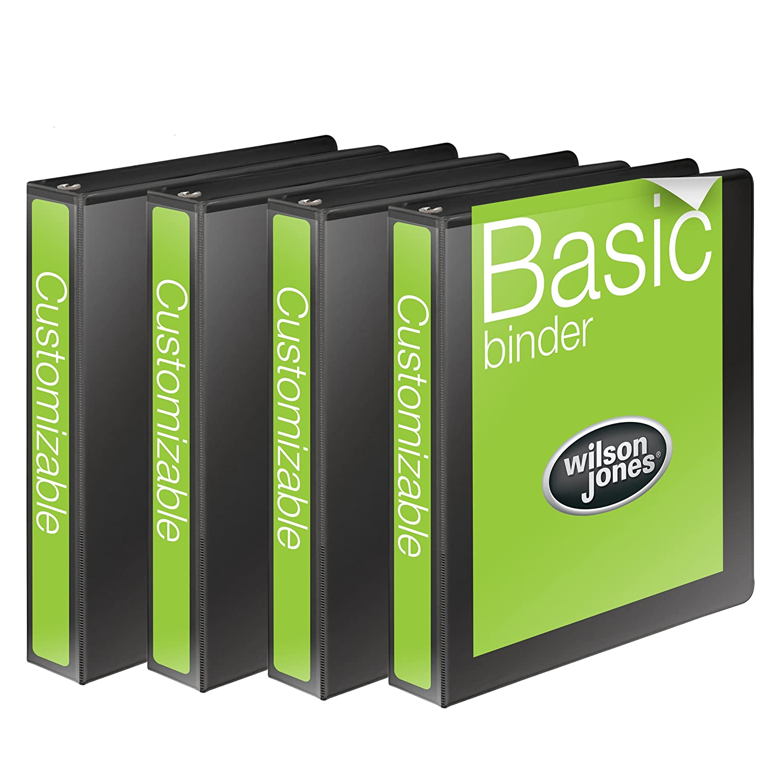 Wilson Jones 1 Inch 3 Ring Binder, Basic Round Ring View Binder, Black, 4 Pack