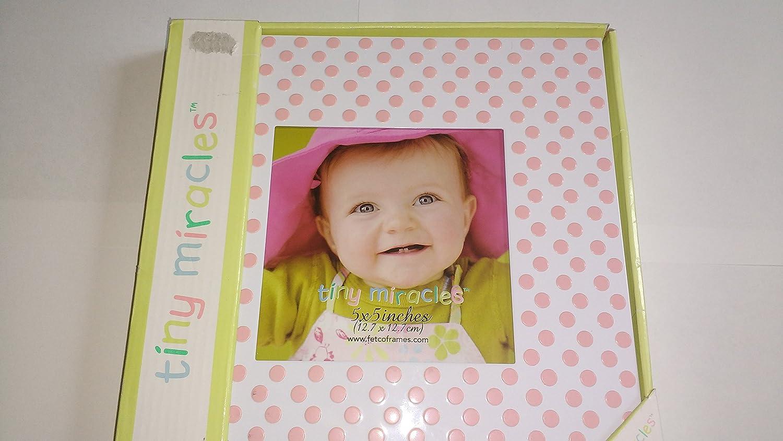Fetco Home Decor Gabrielle - Pink Polka Dots on White 5 x 5 Frame
