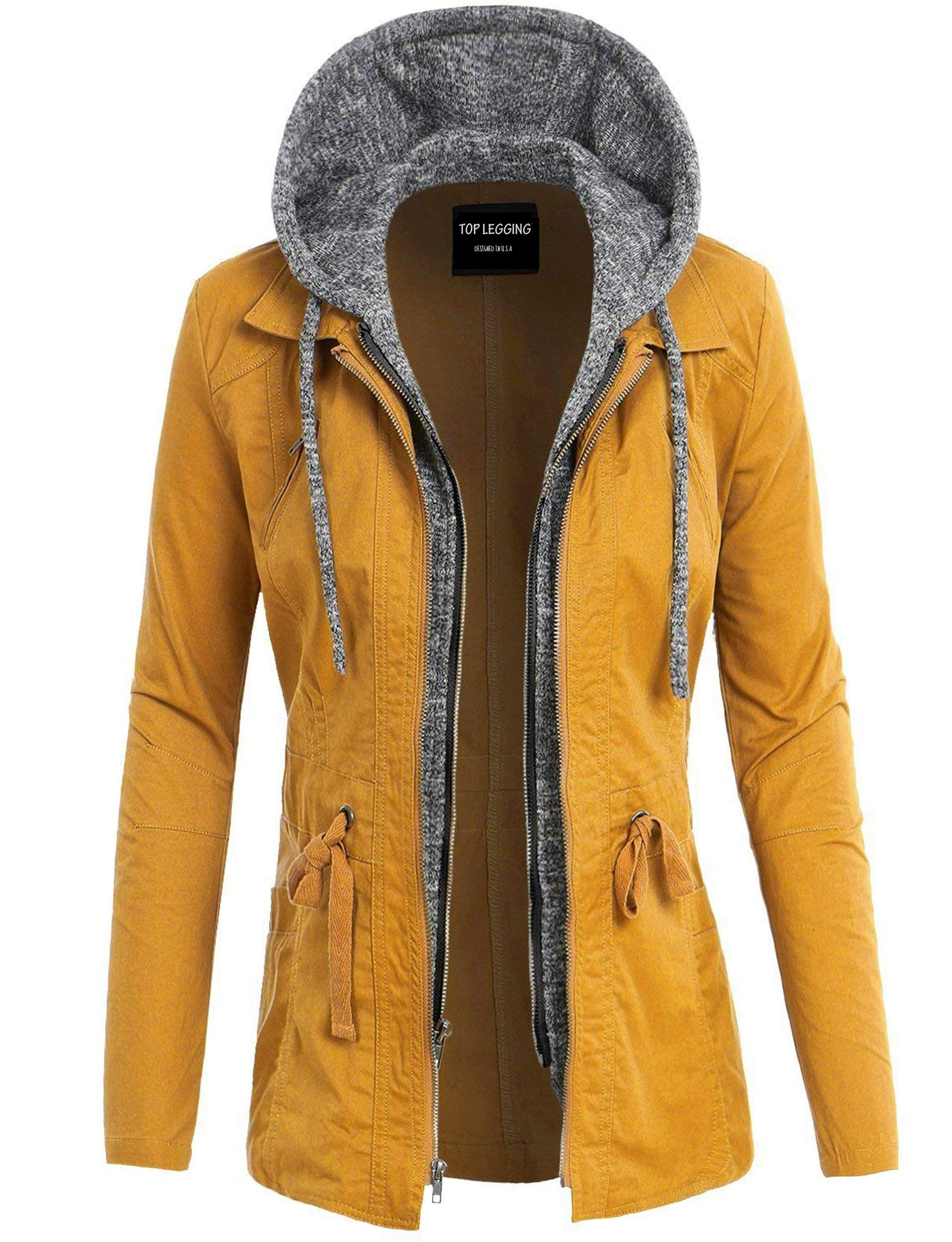 TOP LEGGING TL Women's Versatile Militray Anorak Parka Hoodie Jackets with Drawstring L22_ Mustard L