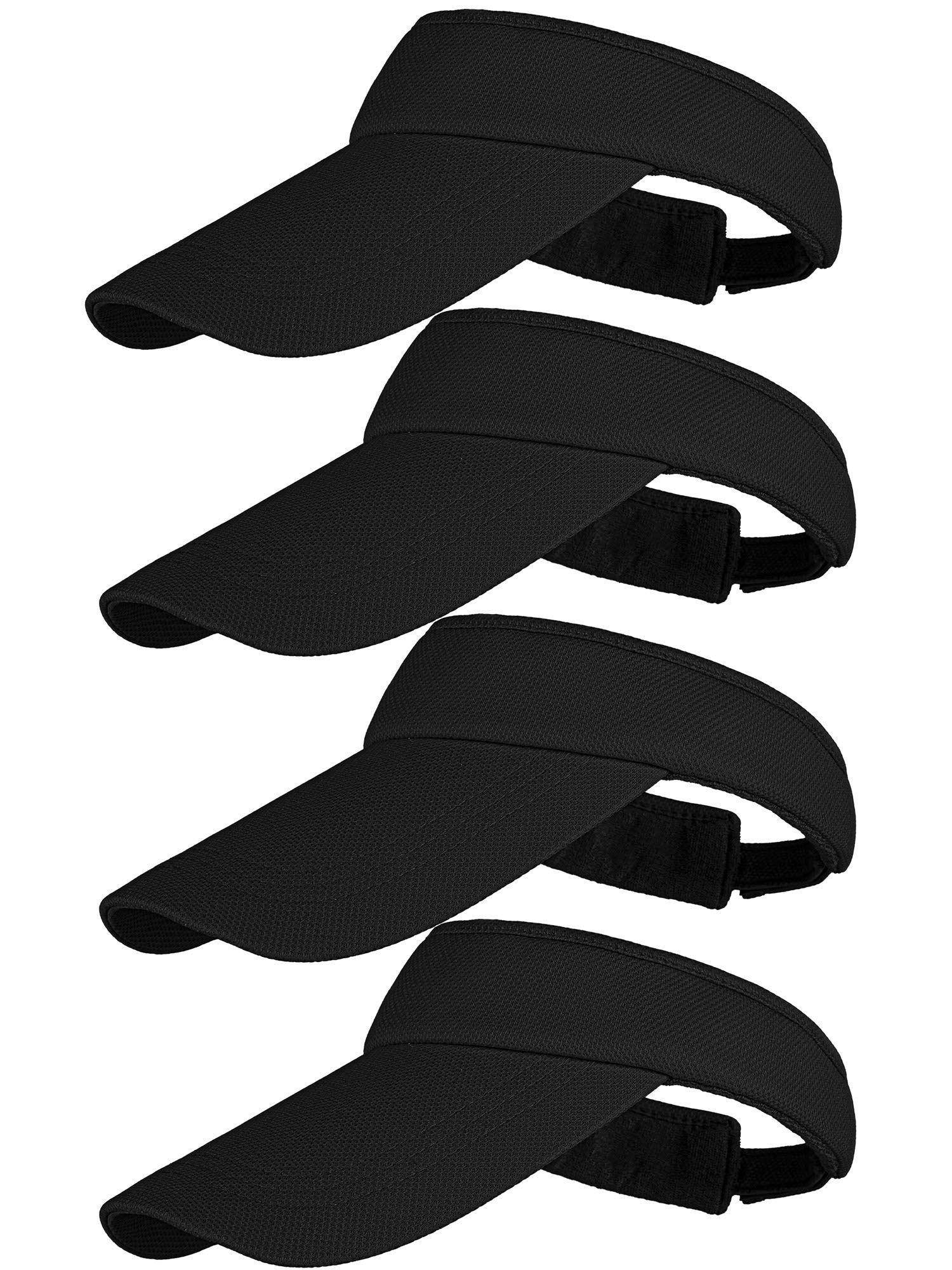 Cooraby 4 Pack Adjustable Sun Visors Outdoor Sport Sun Visors Hats with Long Brim for Men and Women