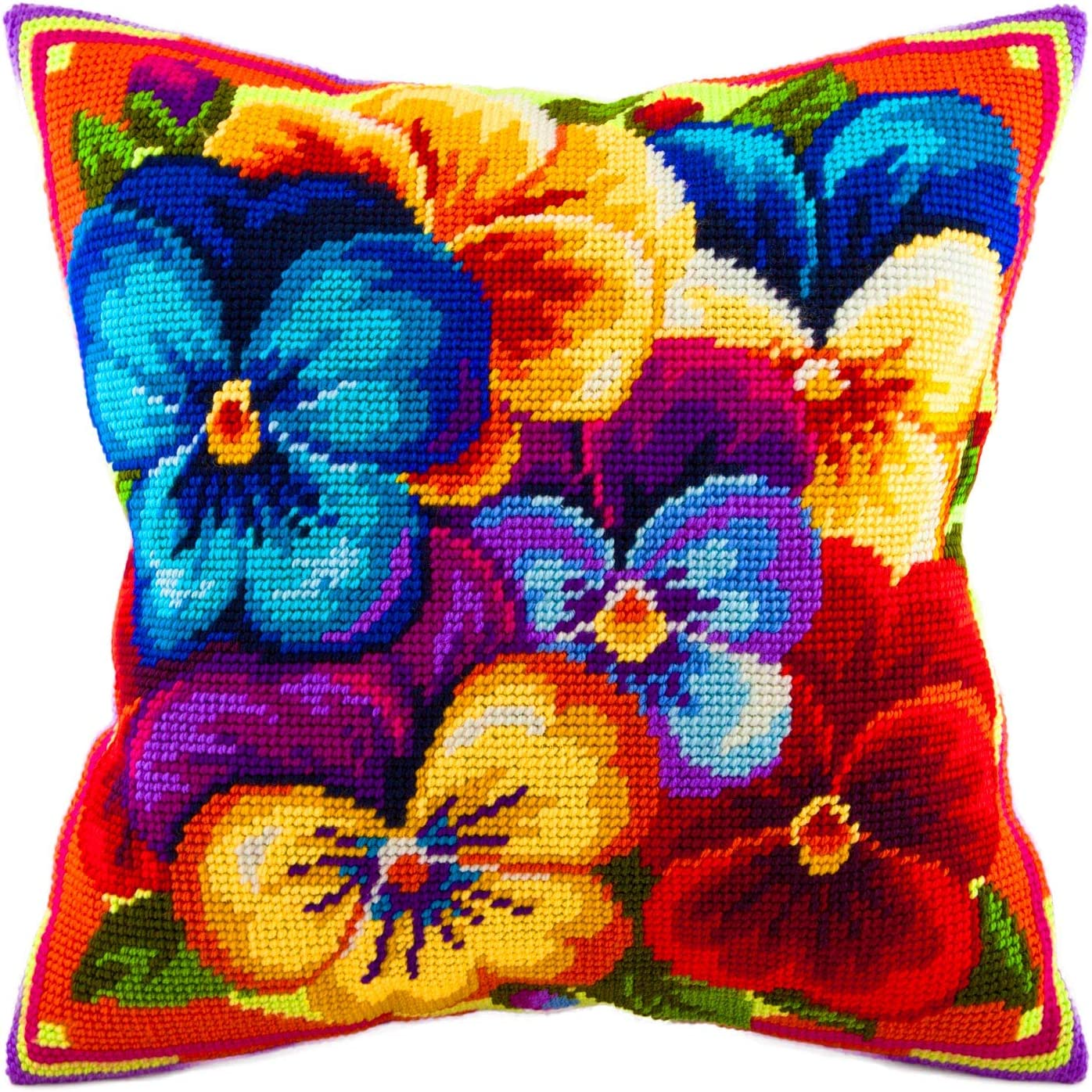 Throw Pillow 16/×16 Inches European Quality Printed Tapestry Canvas Rainbow of Violas Needlepoint Kit