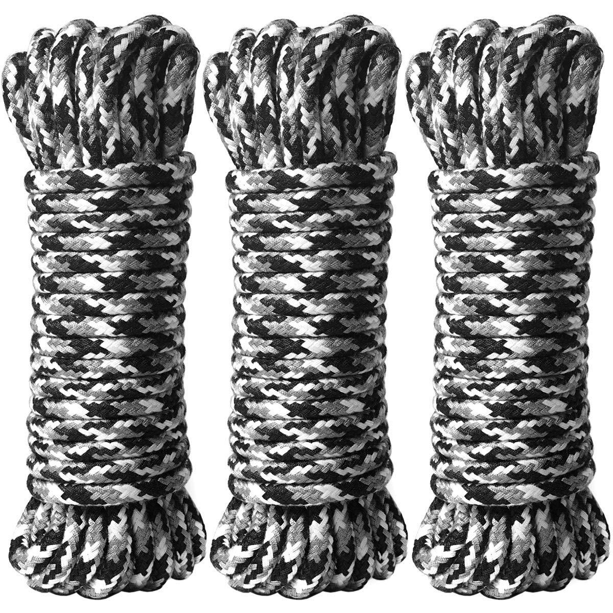 BONTIME All-Purpose Soft Cotton Rope - 32 Feet Length,1/3-Inch Diameter(Black & Grey & White,Pack of 3)