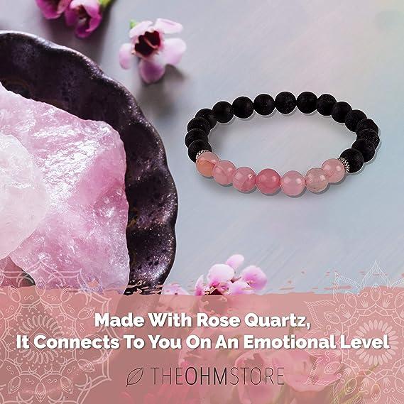 Ohm Bracelet Rose Quartz Gemstone Bracelet Diamond Ohm Bracelet Yoga Bracelet Diamond Beaded Bracelet Diamond Ohm Rose Quartz Bracelet