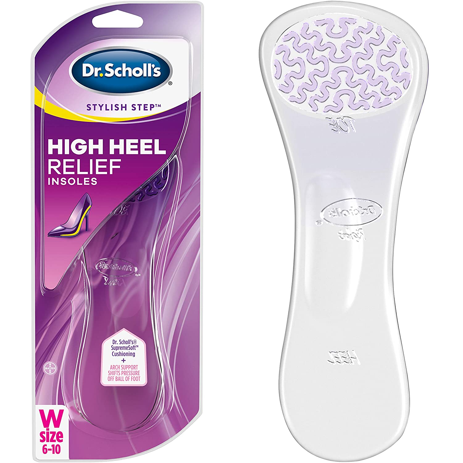 Dr. Scholl's HIGH HEEL RELIEF Insoles // Clinically Proven to Prevent Pain in High Heels with Ultra-Soft Gel Arch that Shifts Pressure off the Ball of Foot for All-Day Comfort (for Women's 6-10)