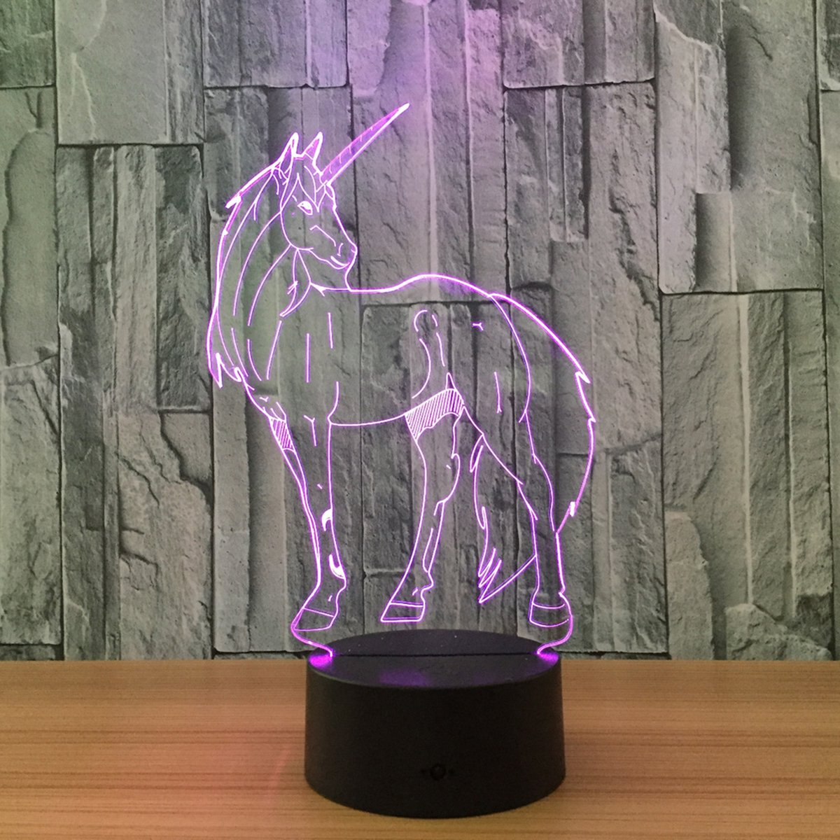 Novelty Unicorn 3D Illusion Lamp Led Night Light with 7 Colors Flashing & Touch Switch USB Powered Bedroom Desk Lamp for Kids Gifts Home Decoration by Atglus (Image #6)