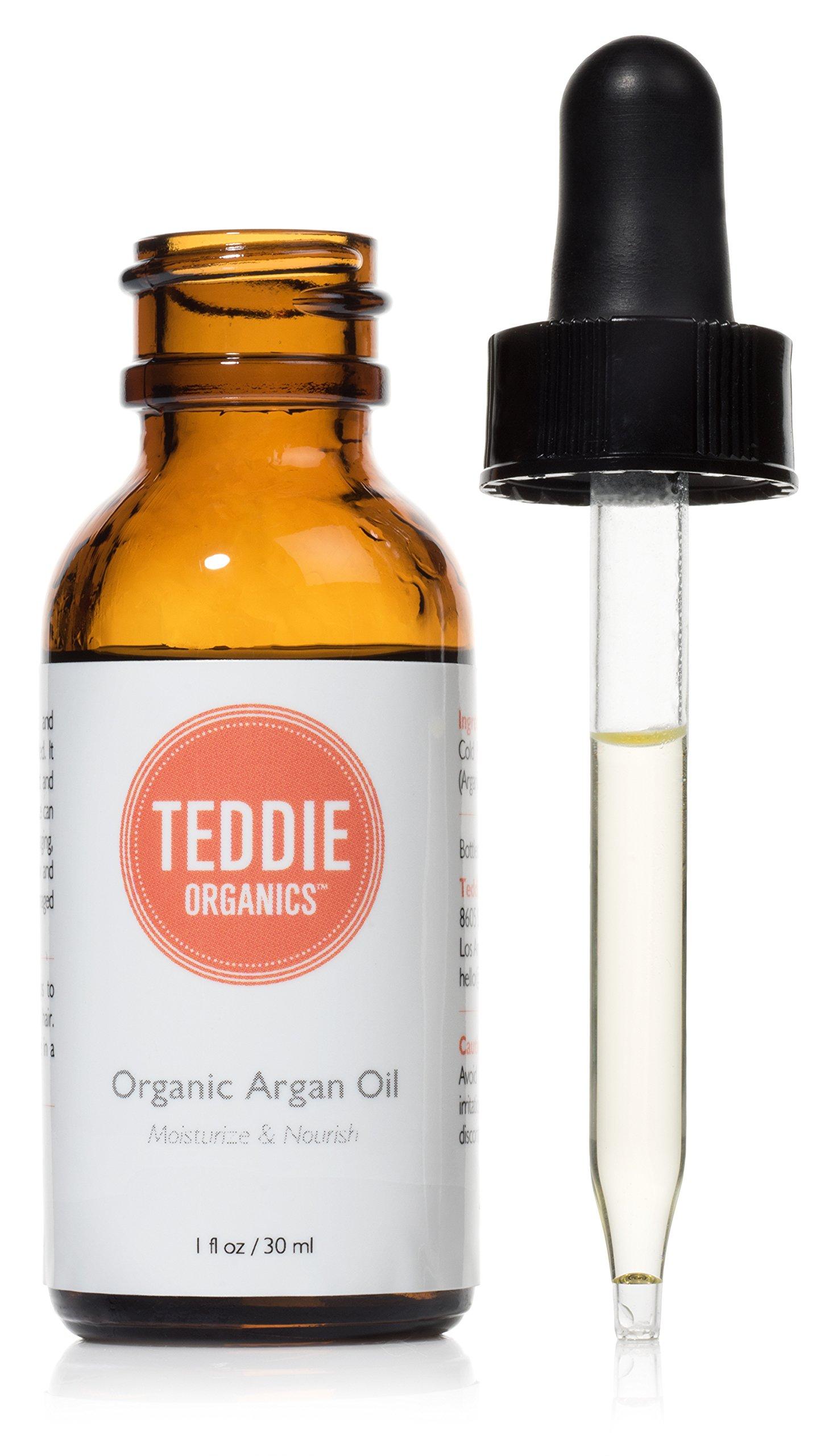 Teddie Organics Pure Moroccan Argan Oil for Hair Face Skin - Virgin Organic Argan Oil Cold Pressed Unrefined 1oz