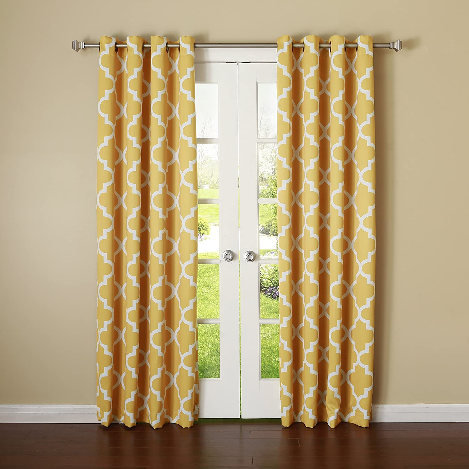 Yellow Best Home Fashion Room Darkening Blackout Moroccan Print Curtains