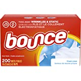 Bounce Fabric Softener Dryer Sheets, Fresh Linen, 200 Count ( Packaging may vary )