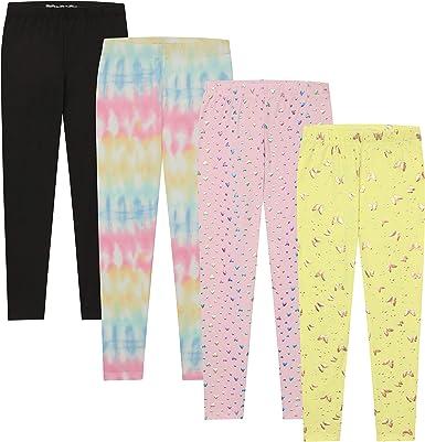 BTween Kids Girl's Fashion Stretch Pants Leggings Comfortable Bottoms Set- 4 Pack Bundle