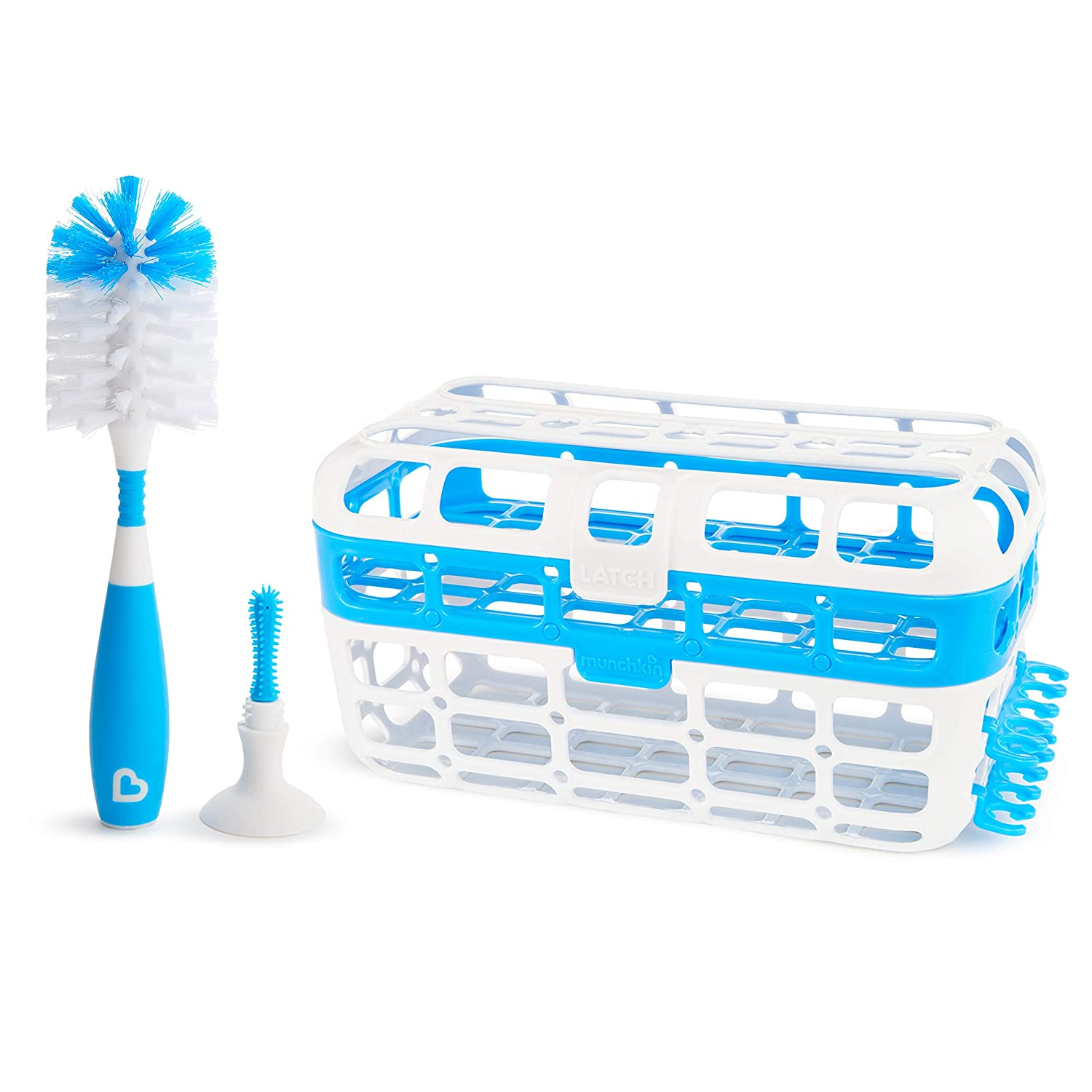 Munchkin Baby Bottle & Small Parts Cleaning Set, Includes High Capacity Dishwasher Basket & Bristle Bottle Brush, Blue