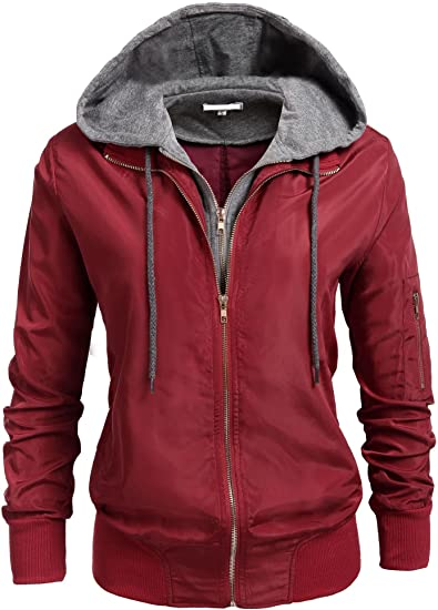SoTeer Womens Relaxed Fit Double Zipper Hooded Jacket Zip Up Hoodie Coat