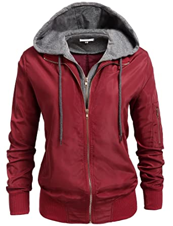 8d4dadc960f17 Zeagoo Women's Warm Hooded Padding Zipper Bomber Jackets Wine Red S
