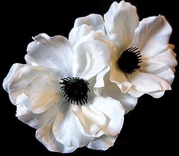 Amazon bright white poppy anemone pin up hair flower clip beauty bright white poppy anemone pin up hair flower clip mightylinksfo