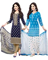 Ishin Combo of 2 French Crepe Multicolor Daily Wear Party Wear Wedding Wear Casual Wear Bollywood New Collection Latest Design Printed Trendy Unstitched Salwar Suit Dress Material (Anarkali/Patiyala) With Dupatta
