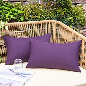 NEERYO Pack of 2 Outdoor Waterproof Throw Pillow Covers Decorative Solid Linen Farmhouse Couch Sofa Lumbar Pillowcases for Garden Patio Tent Balcony Purple 12