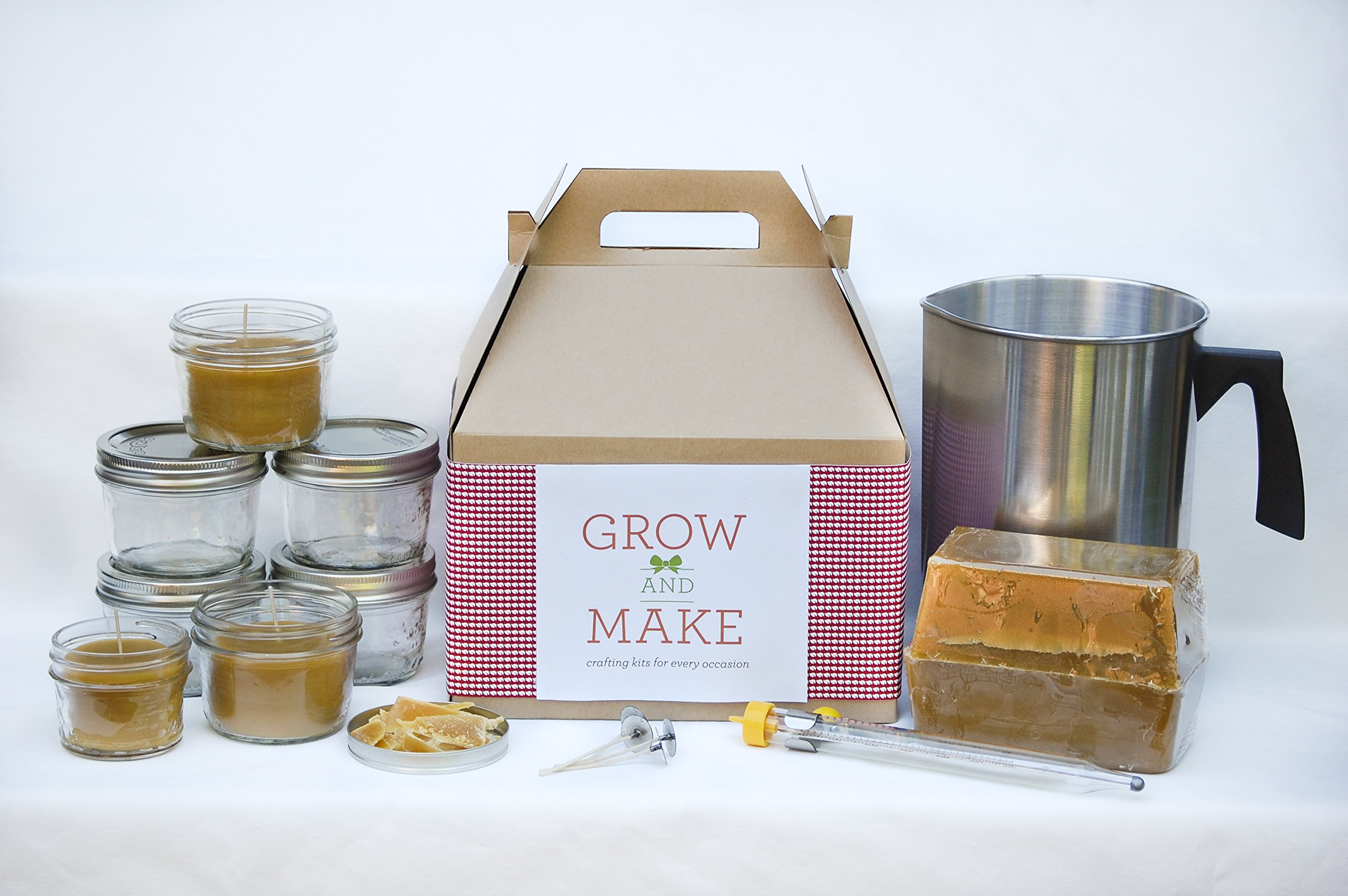 Beeswax Candle Making Kit with Small Mason Jars - Makes 12 Candles