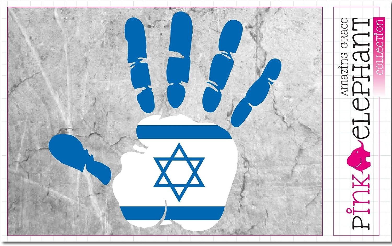 Pinkelephant Aufkleber Autoaufkleber Israel Rechte Rechte Hand Fahne 10 Cm X 9 5 Cm Finger Print Palm Slap Handabdruck Mano Auto