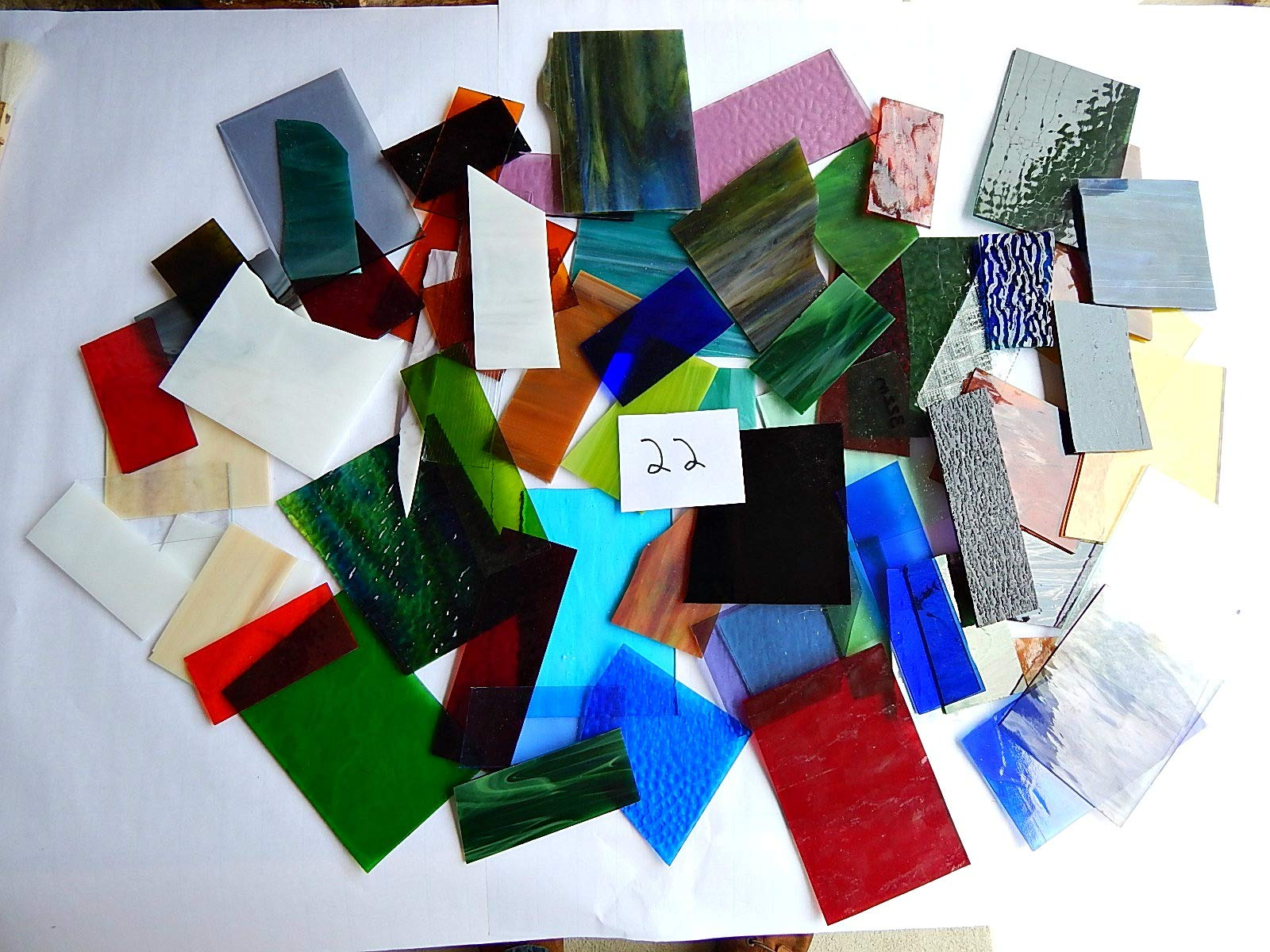 Over 10 LBS Larger Pieces Spectrum Wissmach Stained Glass Mosaic Scrap LOT#22