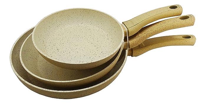ROYAL SWISS Juego de 3 sartenes (Sartén, Antiadherente, con revestimiento de mármol y mango suave, inducción, color crema, ø20 cm, ø24 cm, ...