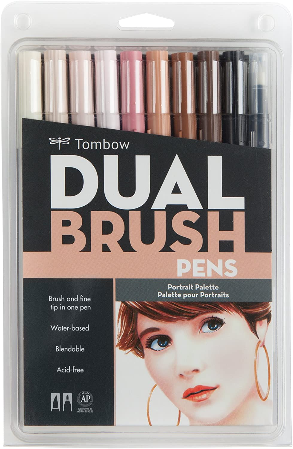 Tombow 56170 Dual Brush Pen Art Markers, Portrait, 10-Pack. Blendable, Brush and Fine Tip Markers