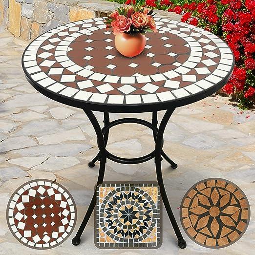 Nova - Mesa Mosaico redonda - Ø/A: 60 x 70 cm, robusta y estable, color rojo y blanco - Diseño a elegir - Mesa de exterior, de jardín, de balcón: Amazon.es: Hogar