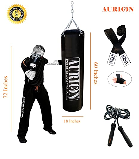 PUNCHING-KICK-BOXING BAG  FILLED HEAVY 5.0 FT PUNCH BAGS MMA MUAY THAI TRAINING