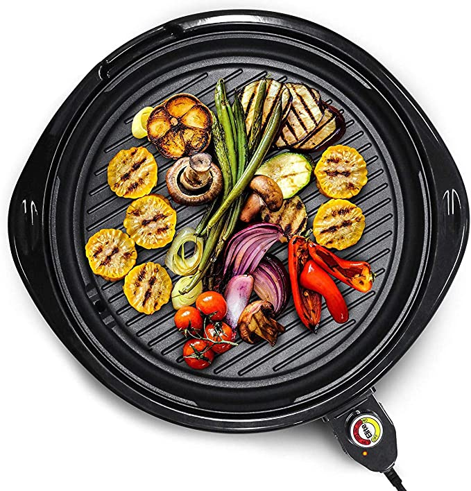 Elite Gourmet Emg 980b Large Indoor Electric Round Nonstick Grill Cool Touch Fast Heat Up Ideal Low Fat Meals Easy To Clean Design Dishwasher Safe Includes Glass Lid 14 Black Electric Griddles Kitchen