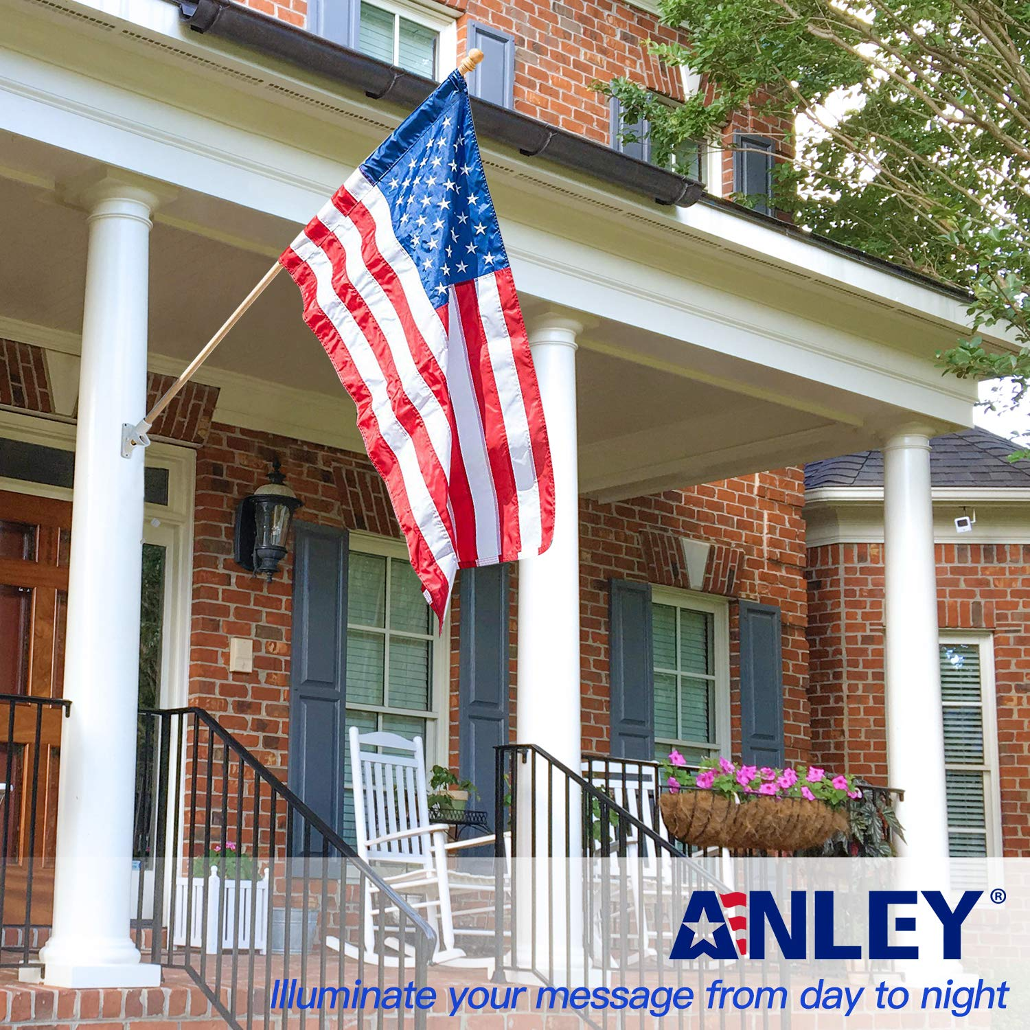Anley 56'' Pine Wooden House Flag Pole - for Sleeve House Flags (28''x 40'') - Tangle Free Design, Rotating Rings and Anti-Wrap Tube by Anley (Image #3)