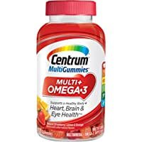 Centrum MultiGummies Multi + Omega-3 (100 Count, Natural Strawberry, Lemon, Orange Flavors) Multivitamin/Multimineral Supplement Gummy