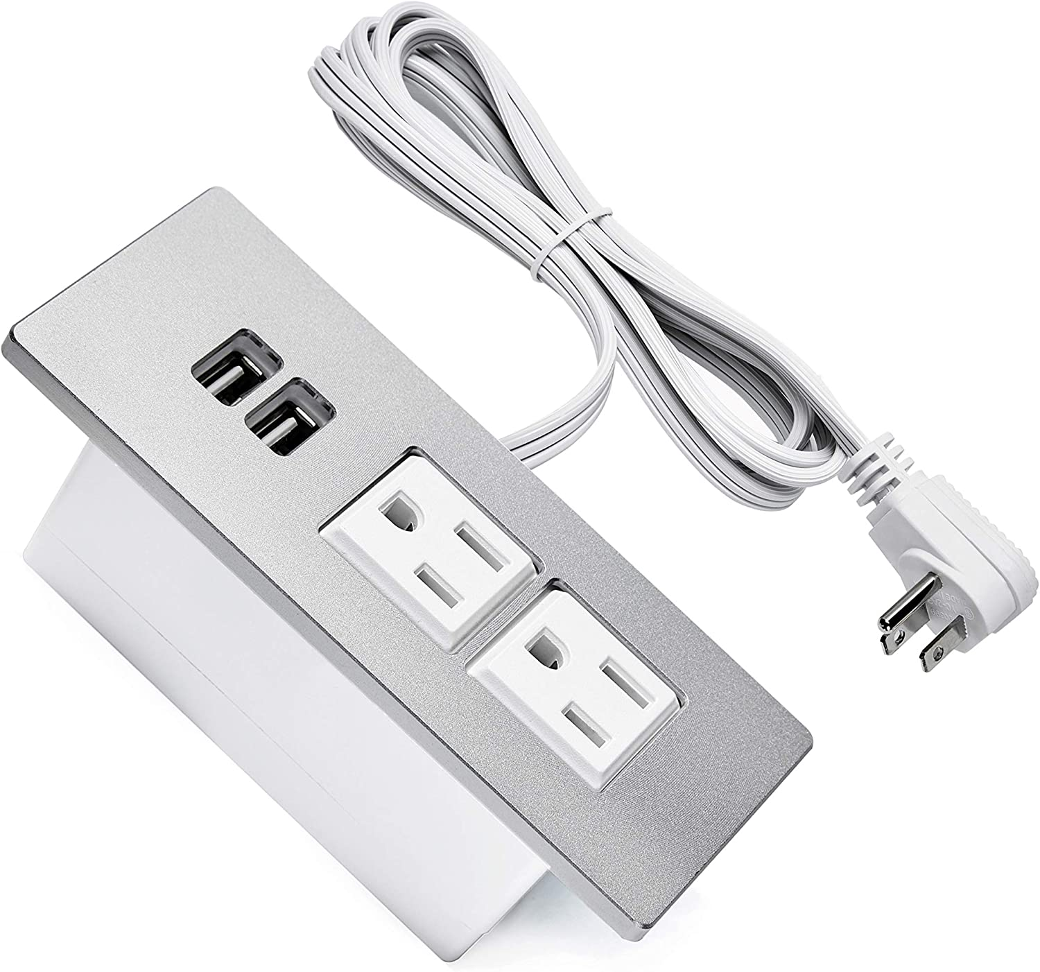 Desk Power Grommet USB Outlet Build-in 2-Outlet and 2 USB Charging Ports with 6.56 FT Extension Cord, Recessed Outlet Power Socket with Outlet Covers for Cabinet Home and Office, Flat Plug (Silver)
