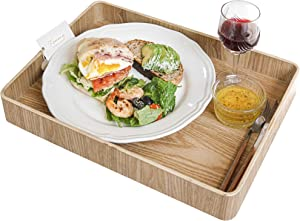 """Nonslip Wood Serving Tray with Handles for Serving Food and Drinks. 16"""" Rectangular Large Tray for Ottoman. Anti-Slip Food Serving Tray with Handles. Wooden Nonslip Food Serving Trays (16"""" Rectangle)"""