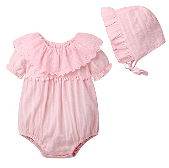 255c3ff99092 Amazon.com  NOMSOCR Newborn Baby Girls Summer Short Sleeve Lace Rompers  Jumpsuit Bodysuit Outfits Clothes + Hats 0-18 Months  Clothing