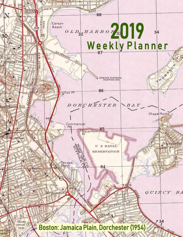 Jamaica Plain Boston Map.2019 Weekly Planner Boston Jamaica Plain Dorchester 1954